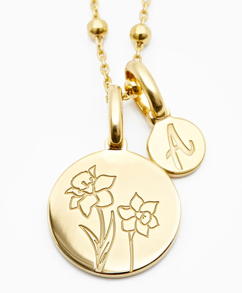 10 year anniversary rellery dainty daffodil necklace