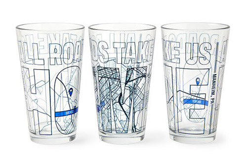 3rd anniversary gift ideas uncommon goods all roads take us home map glass duo
